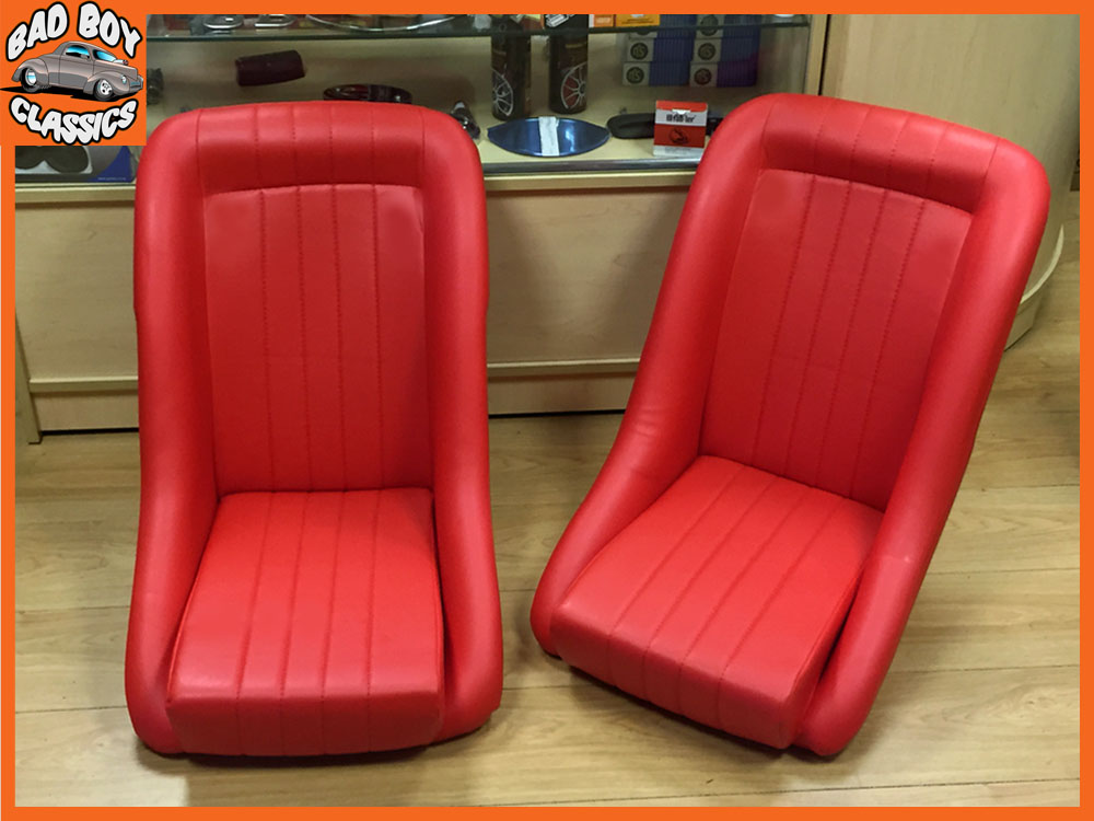Vintage Auto Seats : Universal red bucket seats for classic cars